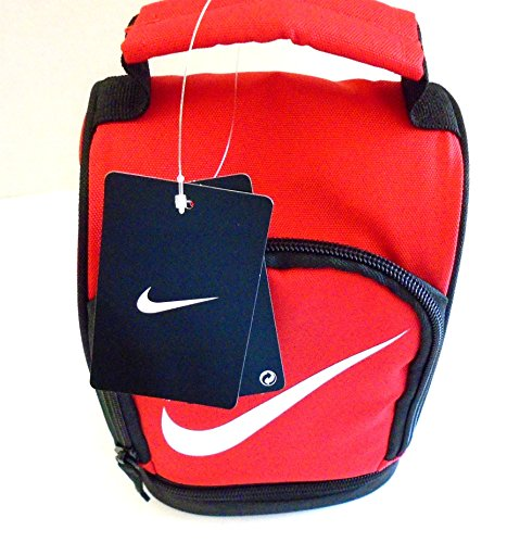 (NIKE Insulated Dome Lunch Box Sport Tote Cooler Bag Game Day Fuel Pack (University Red Black with White Swoosh) )