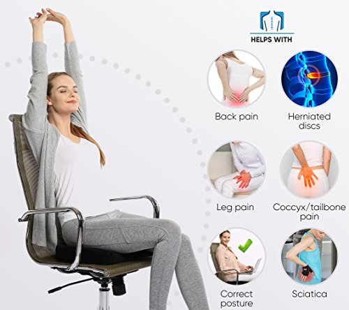 Everlasting Comfort 100% Pure Memory Foam Luxury Seat Cushion, Orthopedic Design To Relieve Back, Sciatica, Coccyx and Tailbone Pain - Perfect for Your Office Desk Chair