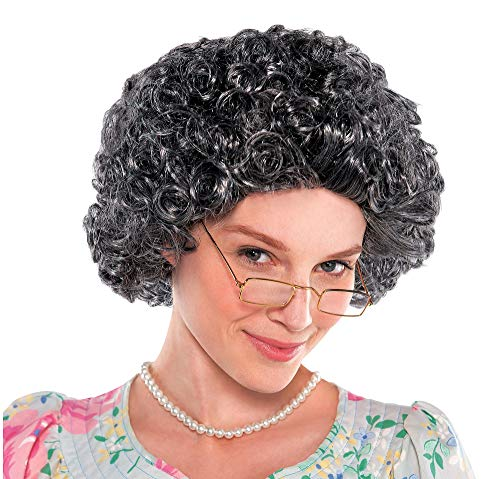 AMSCAN Curly Grandma Wig Halloween Costume Accessories, Gray and Brown, One Size -