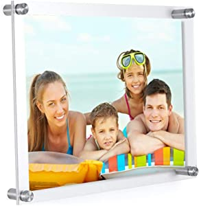 8.5x11 Acrylic Picture Frame -Clear Acrylic Wall Mount Floating Photo Frame for Document Certificate Sign Holde Display Use As Family Picture Frame