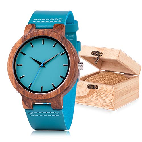 Women Wooden Watches with Leather Band Analog Quartz Handmade Unisex Wood Watch with Gift Box