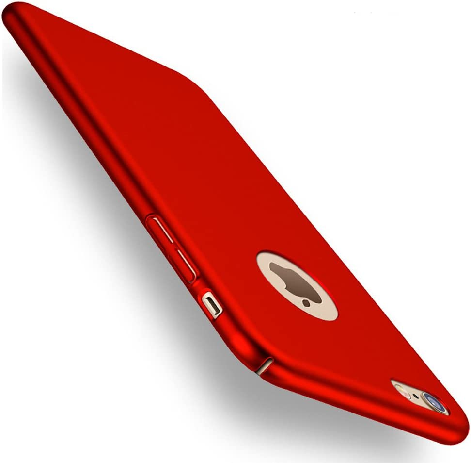 ACMBO iPhone 6s Plus/ 6 Plus case, Ultrathin Micro Matte [Skin Touch Feel] Metallic Texture Anti-Fingerprints Non-Slip No-Fade Shockproof PC Phone Case Cover for iPhone 6 plus/6s Plus 5.5 inch, Red