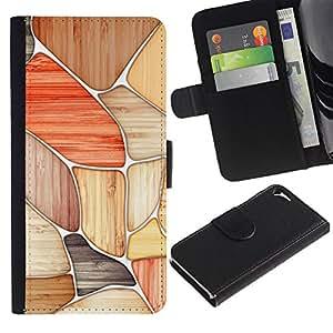 KLONGSHOP / Tirón de la caja Cartera de cuero con ranuras para tarjetas - Pattern Red Black Beige White - Apple iPhone 5 / 5S