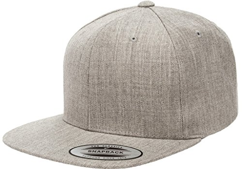 (Yupoong 6089M Classic Snapback Pro-Style Wool Cap by Flexfit - One Size (Heather Gray))