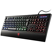 Redimp LED Backlit Gaming Keyboard for Mac, Waterproof Ergonomic USB Wired Computer PC Gaming Keyboard with Wrist Rest