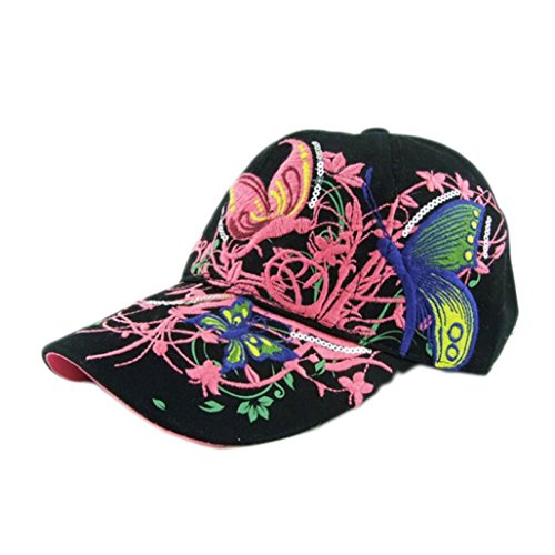 BCDshop Butterfly Flower Baseball Cap Women Lady Duck Tongue Hat Anti Sai Cap (Black) (Pony Floral Ball)