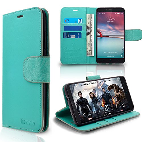 ZTE Imperial Max / Z963U / Grand X Max 2 / Z988 Case, INNOVAA Premium Leather Wallet Case with STAND Flip Cover W/ Free Screen Protector & Touch Screen Stylus Pen - Mint (Zte Imperial 2 Wallets Case compare prices)
