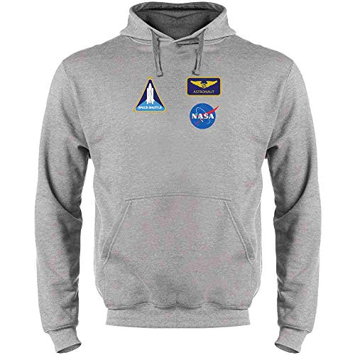 Pop Threads NASA Approved Astronaut Uniform Patches Costume Heather Gray M Mens Fleece Hoodie Sweatshirt -