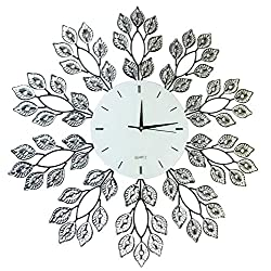 Lulu Decor, 25 Leaf Metal Wall Clock, 9 White Glass Line Dial, Decorative Clock for Living Room, Bedroom, Office Space