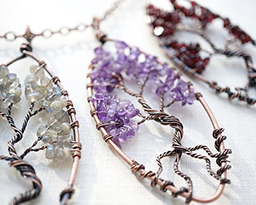 Raw Amethyst Tree of Life Necklace Wirewrapped Purple Quartz Aquarius Gemstone Pendant Bonsai Tree Family Tree birthstone for February Oxidized Copper Chain gift Handmade and Crafted by ()
