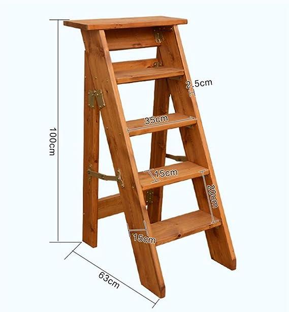 STOOLLZX - Escalera Plegable de Madera, Escalera Plegable de Madera Maciza de 5 peldaños, Escalera Alta de 100 cm: Amazon.es: Hogar