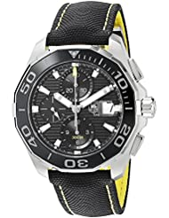 TAG Heuer Mens Aquaracr Swiss Automatic Stainless Steel and Canvas Sport Watch, Color:Black (Model: CAY211A.FC6361)