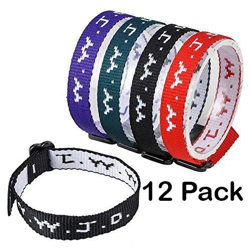 Religious Bracelets – Adjustable Religious W.W.J.D Classic Webbing Wrist Band- Pack of 12 Religious Friendship Bracelet - By Katzco