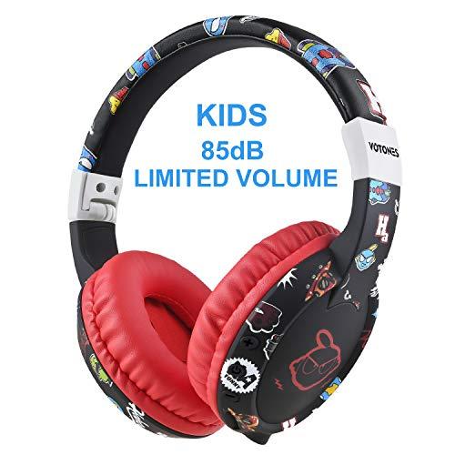 Ucio Kids Headphones for School,Wireless Bluetooth Headphones,Over-Ear/On-Ear, 85db Volume Limiting Headphones for School/Children/Teens/Boys/Girls/Smartphones/Travel (Black)