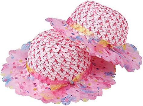 Girls Sunflower Straw Tea Party Hat Set (8 Pcs, Assorted Colors)