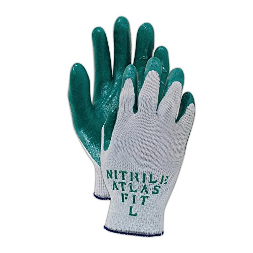 Showa Best 350L SHOWA Best Glove Atlas Fit 350 PF Knit Glove with Nitrile Palm Coating, Medium, Green , Large (Pack of (Standard Knit Glove)