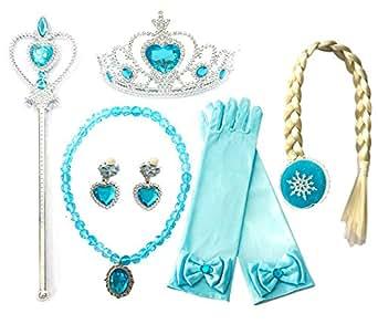 Kuzhi Frozen Princess Elsa Dress up Party Accessories 6 Pcs Set - Gloves, Tiara, Wand, Necklace, Wig & Earrings (Blue)
