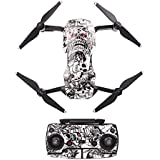 Hobby Signal Waterproof PVC Carbon Grain Stickers Carbon Graphic Skin Full Set Drone Body Battery Remote Controller Decals for DJI (Monochrome Skeleton)