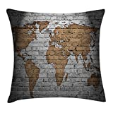 Ambesonne Wanderlust Throw Pillow Cushion Cover, World Map on Old Brick Wall Countries Continents Aged Vintage Rough, Decorative Square Accent Pillow Case, 36 X 36 Inches, Pale Grey Pale Brown