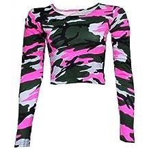 Friendz Trendz-Women Army Camouflage Tartan Check Long Sleeve Crop Top