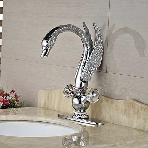 GOWE Luxury Swan Style Deck Mount Brass Basin Vanity Sink Faucet Dual Handles Mixer Water Tap with 8