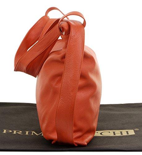 Primo Handbag Sacchi Textured Ladies Orange Leather Bag Grab Italian Shoulder Backpack 1FU1BnW