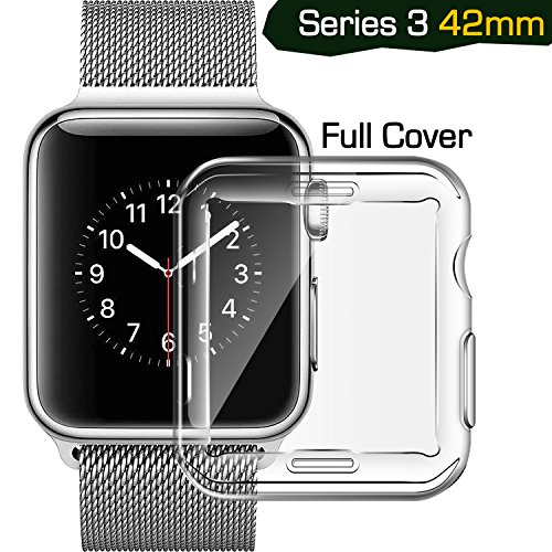 iwatch 42 mm screen protector, TIRIO iwatch 3 screen protective Case TPU hd clear All-around 0.3mm Ultra-thin Soft High Transparency Full Cover protector for New Apple Watch Series 3/2/1 42mm(2017)