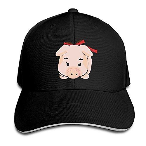 Safan532 Creative Cartoon Pig Piggy Casual Design Unisex Cotton Sandwich Peaked Cap Adjustable Baseball Caps Hats Black (Baby Halloween Costumes 2017 Uk)