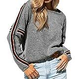 Molyveva Women Casual Winter Pullovers Knit Stripe Rainbow Patchwork Sweater Top