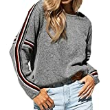 DuseedikWomen Winter Long Sleeve Knitted Striped Patchwork Sweater Tops Blouse T Shirt