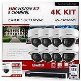 Hikvision IP Camera System 4K Bundle (NVR 4TB + 8 Cameras) DS-7608NI-K2/8P Hikvision NVR 8 Channel PoE & DS-2CD2183G0-I 2.8mm 8MP Hikvision IP Dome Surveillance Cameras Kit (9 Items) International