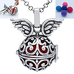 Antique Silver Copper Angel Wings Locket Necklace Perfume Fragrance Essential Oil Aromatherapy Diffuser