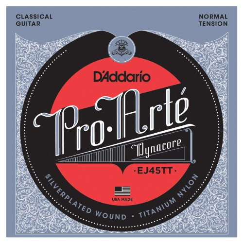 D'Addario EJ45TT ProArte DynaCore Classical Guitar Strings, Titanium Trebles, Normal (Acoustic Classical String Basses)