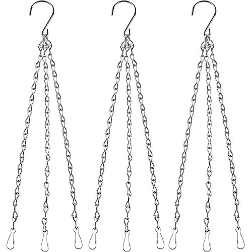 eBoot 3 Pack 16 Inches Hanging Chains Flower Pot Chains Hanging Flower Basket Galvanized Replacement Chain 3 Point Garden Plant Hanger (2 mm, Silver)