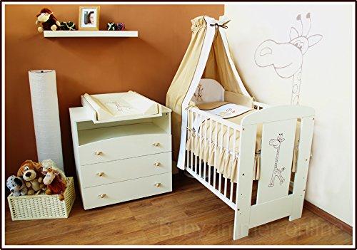 Sparset Babyzimmer Babybett incl. Himmelset, Wickelkommode usw. (beige)