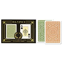 DA VINCI Club Casino, Italian 100-Percent Plastic Playing Cards, 2-Deck Bridge Index Set, with Hard Shell Case and 2 Cut Cards