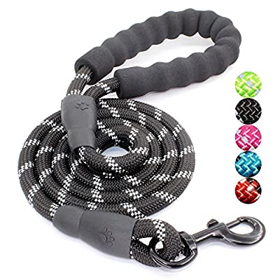 5 FT Strong Dog Leash with Comfortable Padded Handle and Highly Reflective Threads for Medium and Large Dogs from Heima