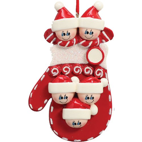 Personalized Mitten Family of 5 Christmas Tree Ornament 2019 - Parent Child Friend Red Santa Hat Candy Glove Glitter Gift Tradition Gift Year Kid Knit Winter Activity - Free Customization (Five)