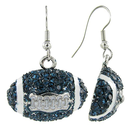 - Dome Football Rhinestone Fish Hook Earrings - Navy Blue Crystals and White Enamel