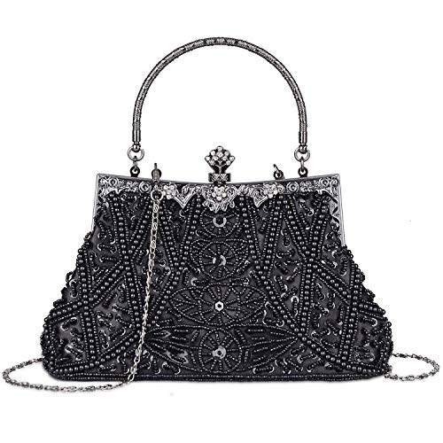 (KISSCHIC Women's Vintage Beaded and Sequined Evening Bag Wedding Party Handbag Clutch Purse (Black))