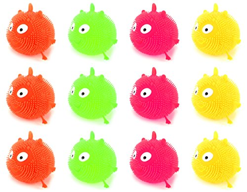 Set of 12 Light Up LED 'Fluffy Creature' Squeezable Children's Kid's Toy Yoyo Ball (Colors May Vary)