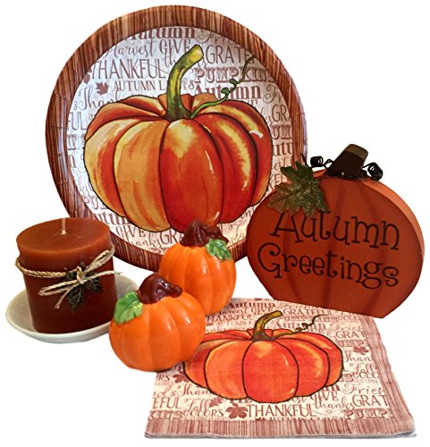 Pumpkin Pillar (Thanksgiving/Fall / Table Decorations with Paper Plates & Napkins, Candle with Holder, Pumpkin Salt & Pepper Shakers and Autumn Greetings Sign Bundle)