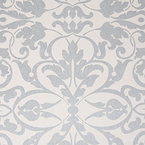 Stripe Wallpaper Double Roll - Swirls, White/Silver Damask Modern Wallpaper for Walls - Double Roll - By Romosa Wallcoverings LL7562