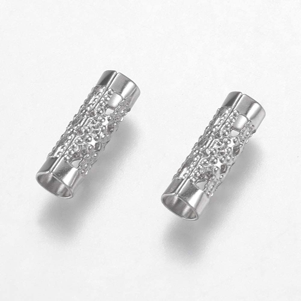 UNICRAFTABLE 200pcs Stainless Steel Spacer Beads Sculptured Metal Material Beads Straight Tube Beads for Pendant Bracelet Necklace Jewelry Making 12x4mm Hole 3mm