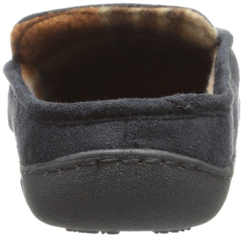 Isotoner Heren Microsuede Capuchon Mocassin Slipper Met Geruite Sok Zwart