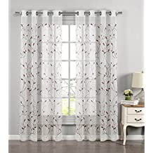 Window Elements Wavy Leaves Embroidered Sheer Grommet Curtain Panel, Rust
