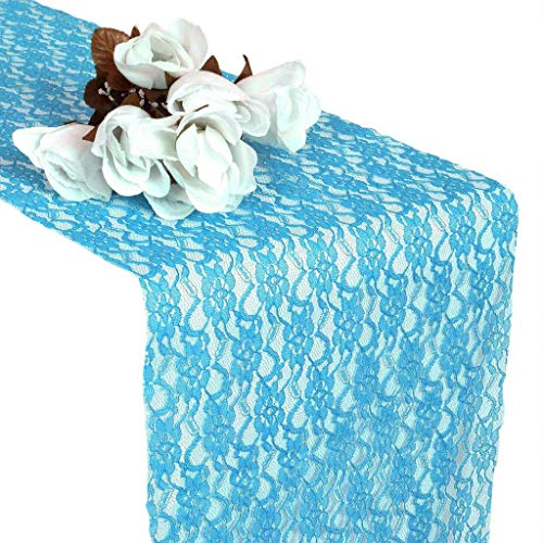 mds Pack of 10 Wedding 12 x 108 inch Lace Table Runner for Wedding Banquet Decor Table Lace Runner- Turquoise -