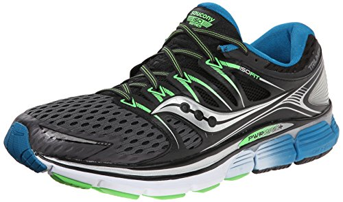 Saucony Men's Triumph ISO Running Shoe, Grey/Black/Slime,12 M US