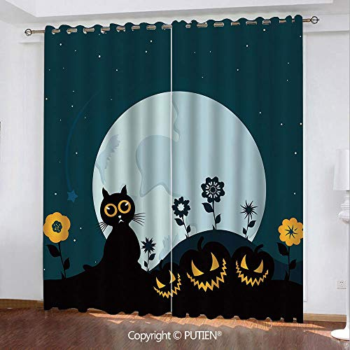 Satin Grommet Window Curtains Drapes [ Halloween Decorations,Cute Cat Moon on Floral Field with Starry Night Sky Star Cartoon Art,Blue Black ] Window Curtain for Living Room Bedroom Dorm Room Classroo -