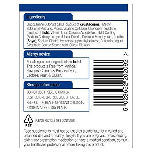 Natures Aid Glucosamine 500mg, MSM 500mg, Chondroitin 100mg, VIT C 180 Tabs 6PK